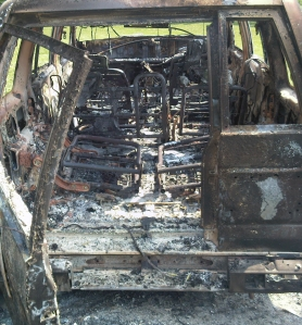 Burned-out car